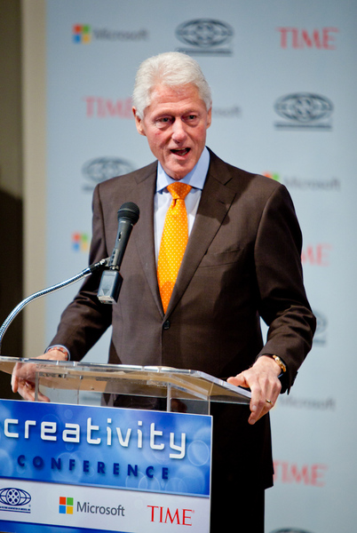President Clinton delivering a keynote speech