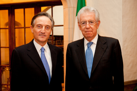 Prime Minister of Italy Mario Monti with Italian Ambassador Claudio Bisogniero at Villa Firenze, Washington, DC.