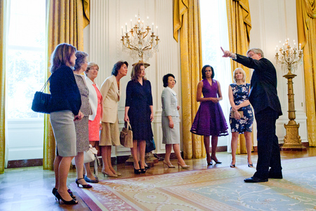 First Lady Michelle Obama and other spouses of G-8 leaders in the East Room during a tour of the White House (2012)