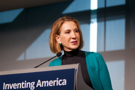 Carly Fiorina delivers a keynote speech